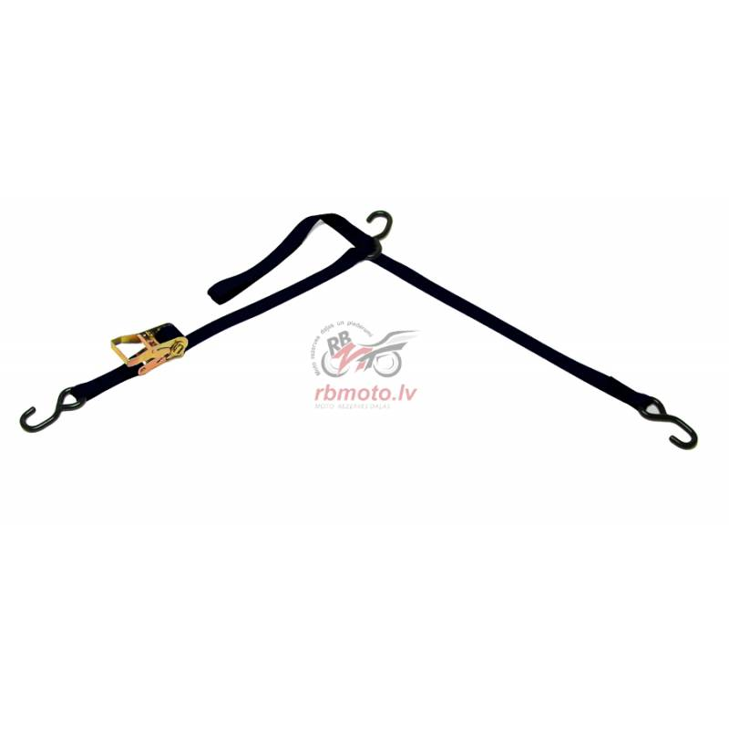 CARGO BUCKLE Tri-down Strap 1 Ratchet 3 Hooks Blac...