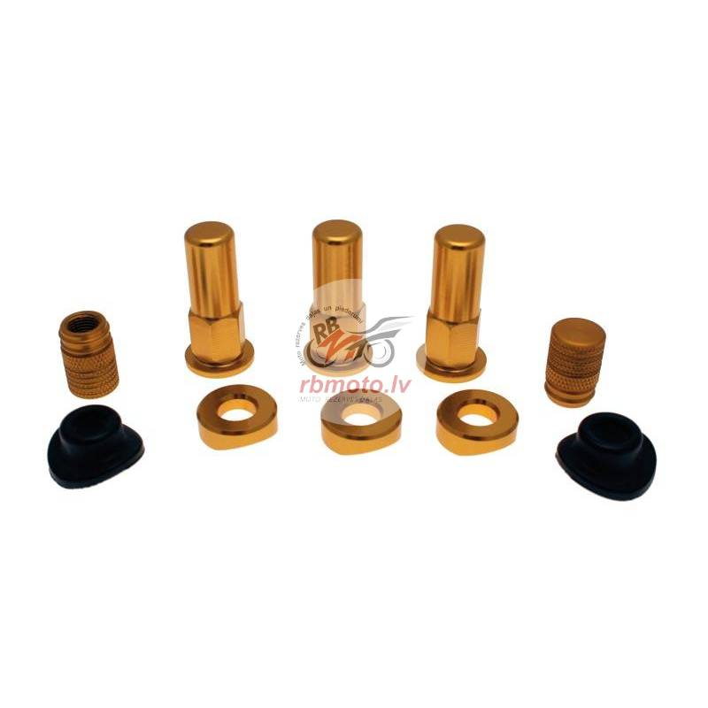 BIHR Rim Lock Screw Set Gold w/ Caps & Valve S...