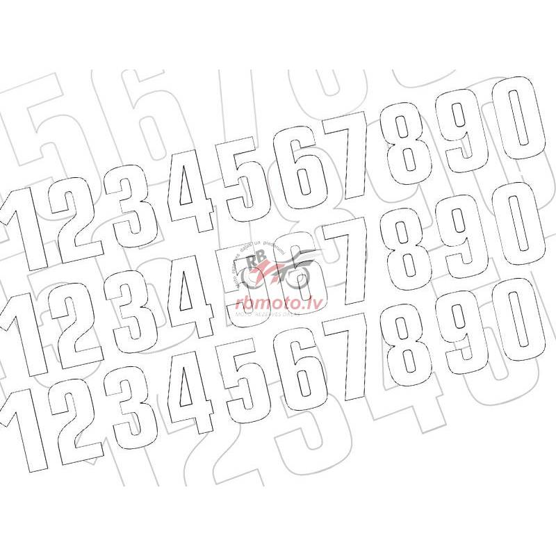 BLACKBIRD Race Numbers Kit 0 to 9 130x70mm White