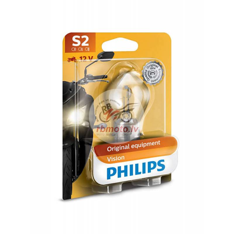 PHILIPS S2 Vision Moto Headlight 12V35/35W Base BA...