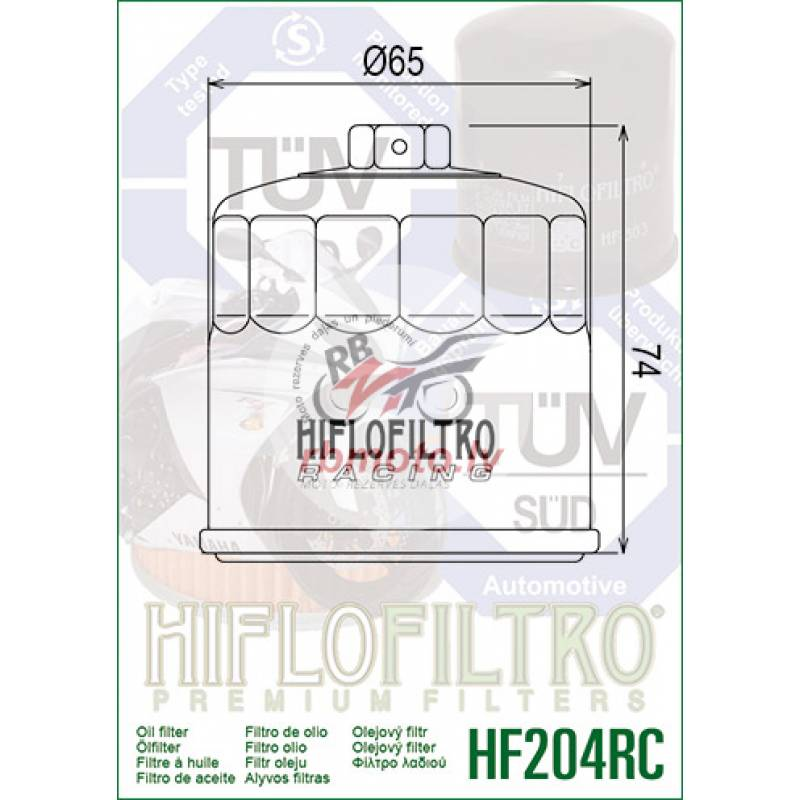 HIFLOFILTRO HF204RC Racing Oil Filter Black