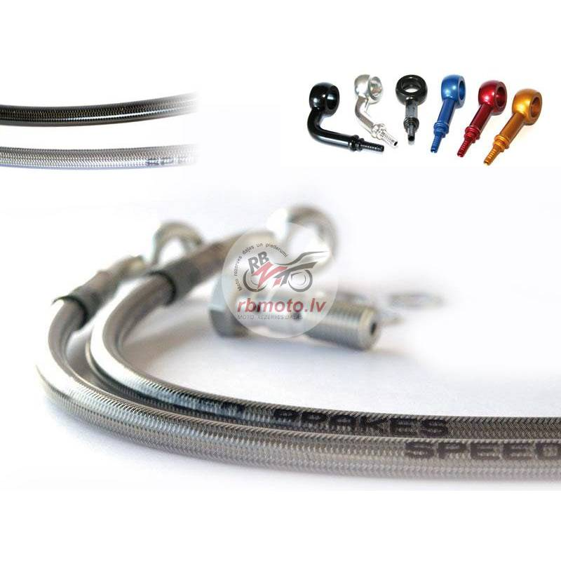 SPEEDBRAKES Stainless Hose/Red Banjo Front Hoses S...